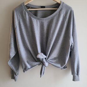 Grey, Crewneck tie up sweater- Size small